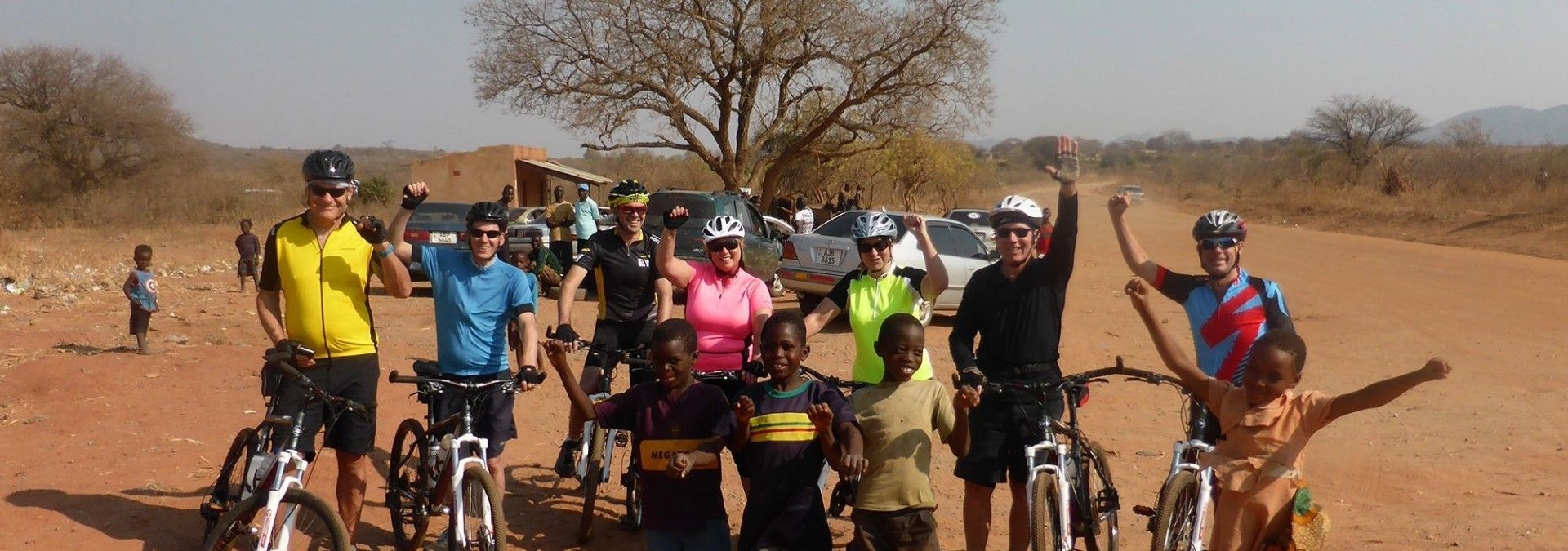 Challengers with local children in Zambia