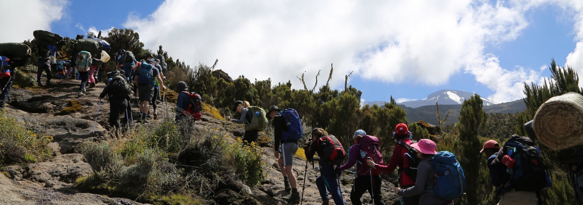 Trekking on the steep ascent onto the Shira Plateau