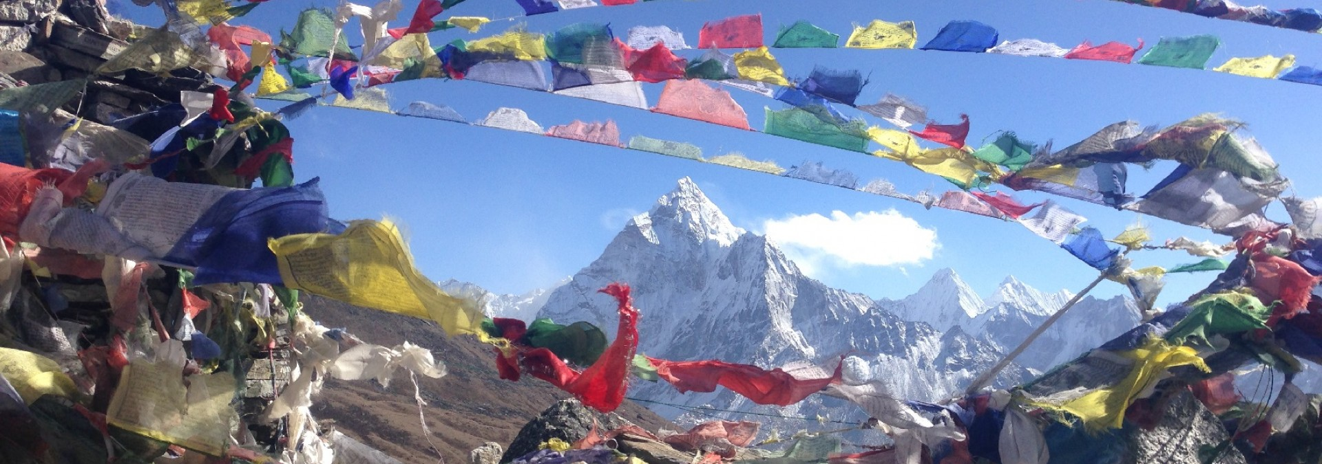 View of Everest through Prayer Flags
