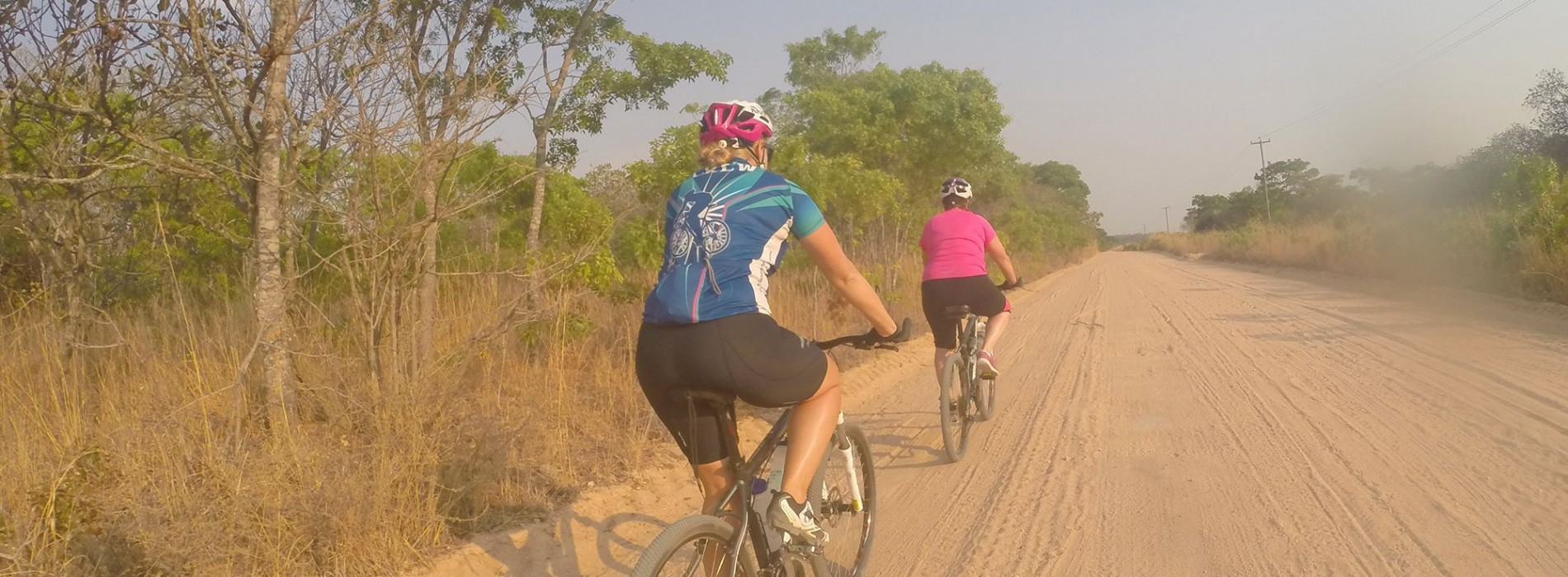 Riding on dirt roads in Zambia
