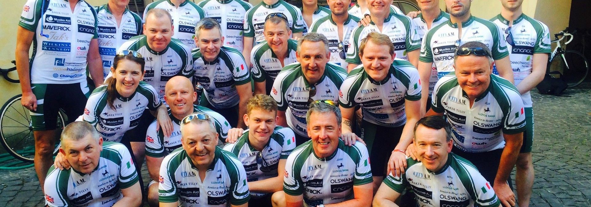 Fundraising cyclists on Venice to Rome cycle