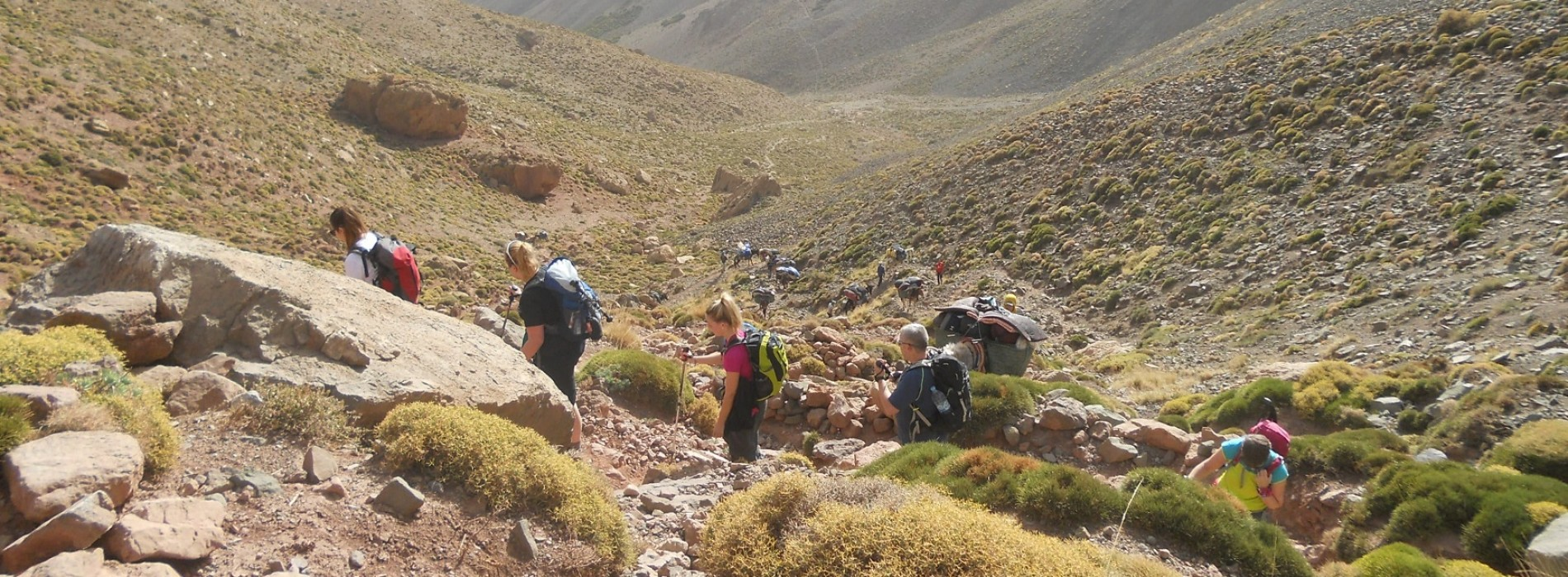 Trekking in the rocky foothills of the High Atlas Mountains